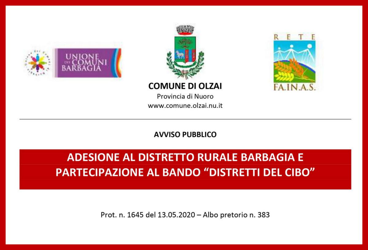 """AVVISO - ADESIONE AL DISTRETTO RURALE BARBAGIA E  PARTECIPAZIONE AL BANDO """"DISTRETTI DEL CIBO"""""""