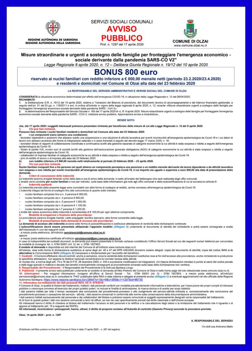 AVVISO PUBBLICO - Emergenza Covid-19 - BONUS REGIONALE 800 euro alle FAMIGLIE