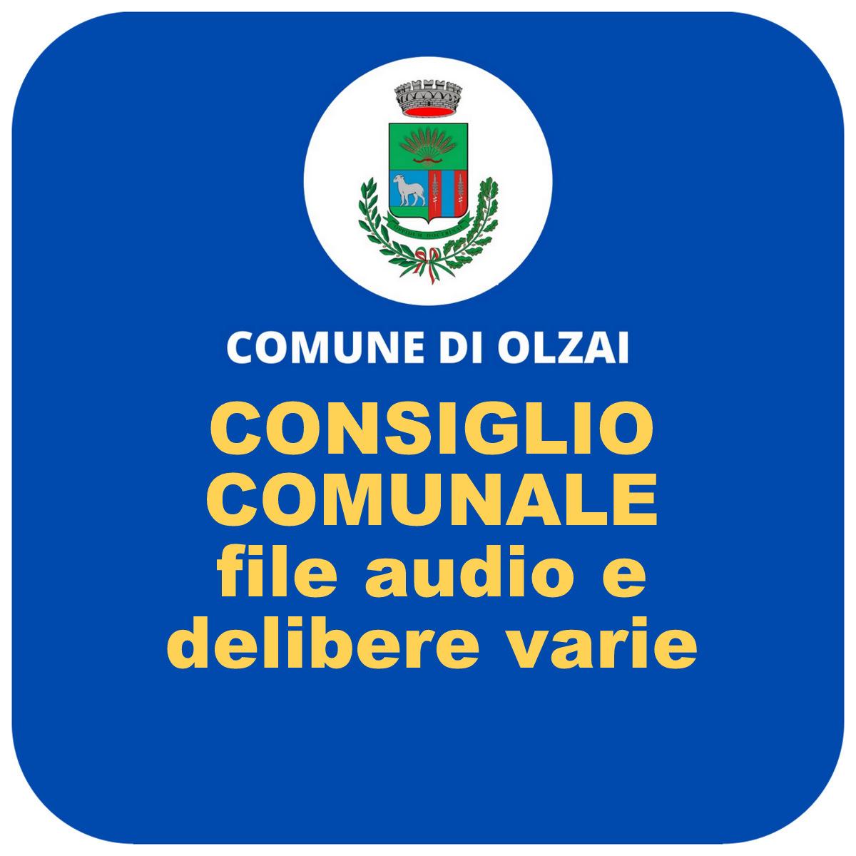 DELIBERE VARIE e FILE AUDIO SEDUTE CONSIGLIO COMUNALE DI OLZAI