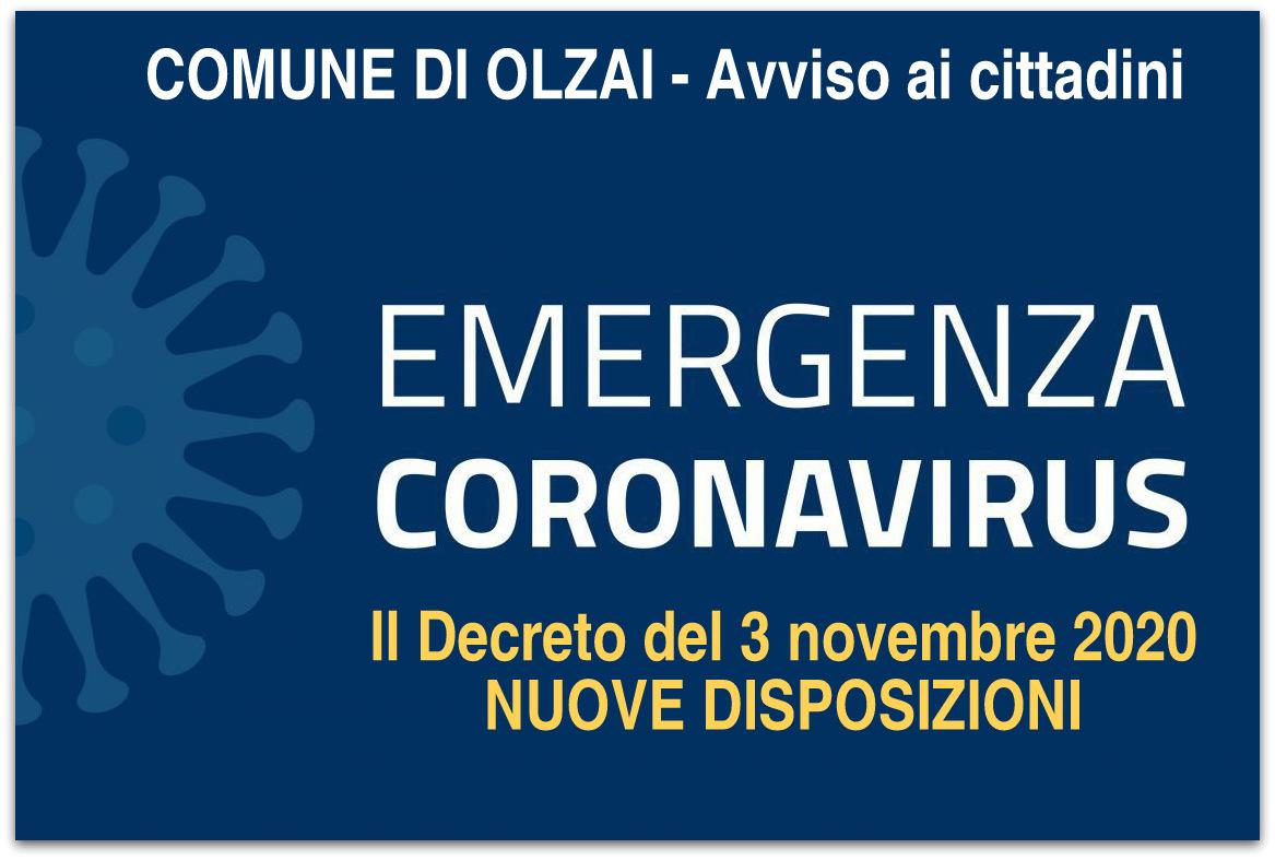 AVVISO - Sintesi DPCM del 3 novembre 2020 - Emergenza Coronavirus