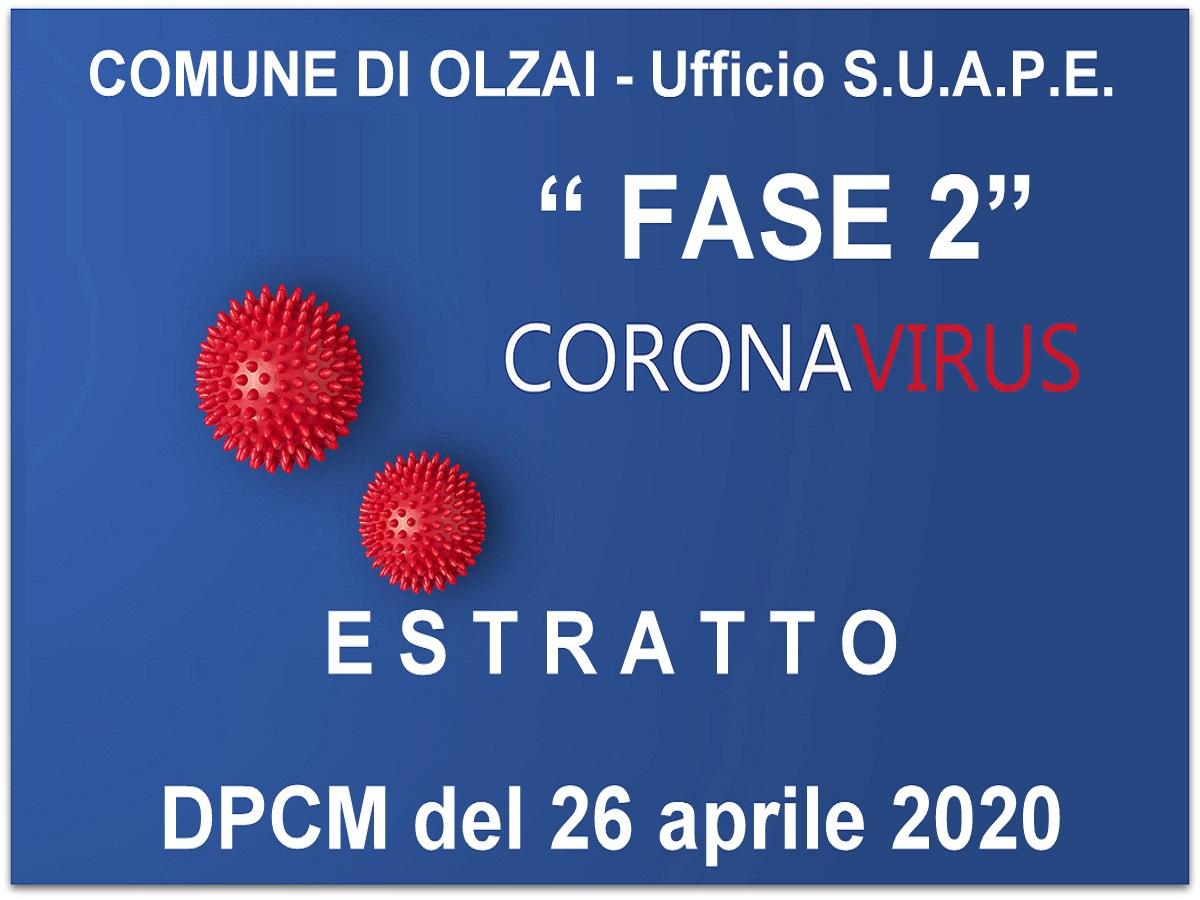 SINTESI DEL DECRETO PRESIDENZA CONSIGLIO MINISTRI del 26 aprile 2020