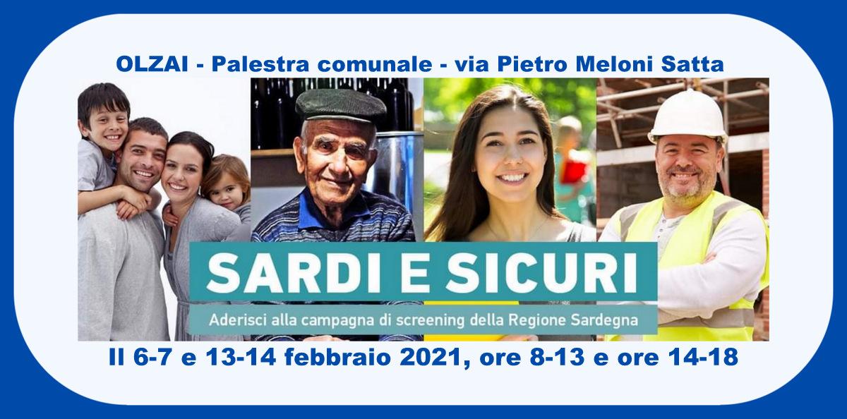 """INFO campagna screening """"SARDI e SICURI"""" a OLZAI"""