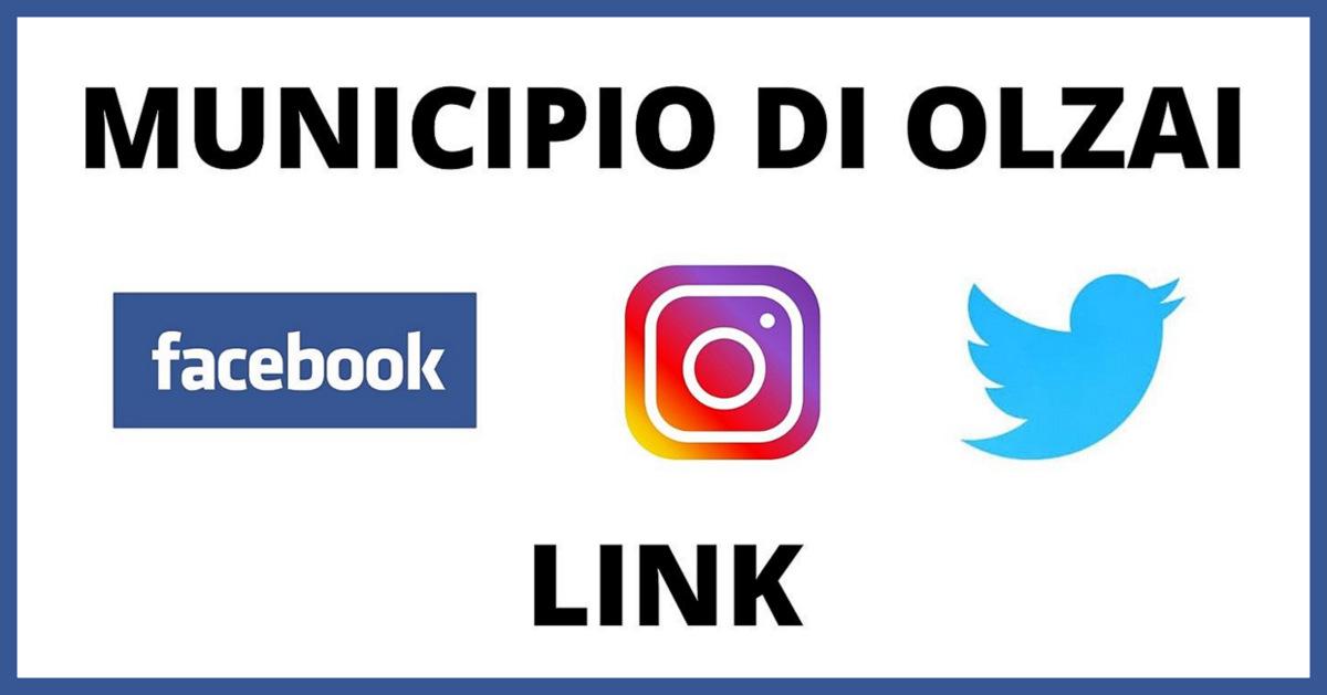 ON LINE I NUOVI PROFILI SOCIAL DEL MUNICIPIO DI OLZAI